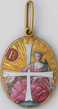 Знак ордена святой Екатерины в виде медальона. Россия, конец XVIII века. Высота 58 мм, ширина 41 мм, общий вес - 78,30 гр.