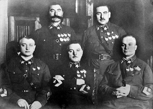Первые пять Маршалов Советского Союза: Тухачевский, Ворошилов, Егоров, Будённый и Блюхер