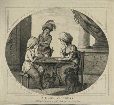 Бретертон Джеймс, Жанровая сцена. Две женщины в восточных нарядах играют за столом в шахматы