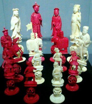 Декоративные шахматные пешки XIX века, Китай