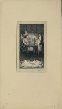 Ходовецкий Даниэль. 1726-1801 Мужчина за столом играет при свечах в шахматы XVIII в.