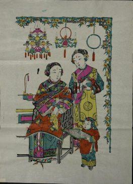 Лубочная картина с изображением богатой женщины, служанки и мальчика с шахматами. Китай. Бумага, размер 54 х 39 см.