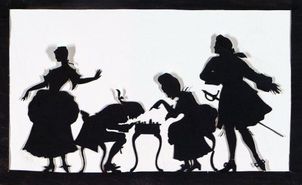 Неизвестный художник, начало XX в. Силуэт: игра в шахматы. Россия, бумага, силуэт, 15,8 х 25,6 см.
