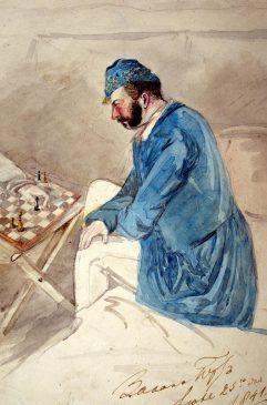Неизвестный художник. Шаржированный портрет А. Адлерберга, играющего в шахматы в Захан Юрте. Россия, 1841 г. Бумага, акварель, 22,5х15,3 см.