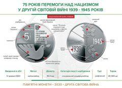 НБУ выпустил монету из нейзильбера номиналом 5 гривен «75 років перемоги над нацизмом у Другій світовій війні 1939 — 1945 років»