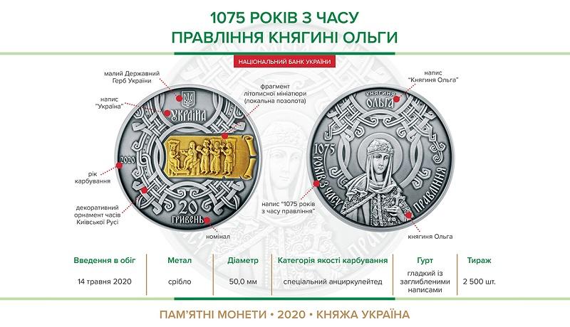 НБУ выпустил памятную монету из серебра номиналом 20 гривен « 1075 років з часу правління княгині Ольги»