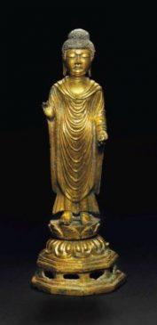 Бронзовая скульптура (17,8 см) стоящего Будды, Корея (668-935 гг. н.э.)