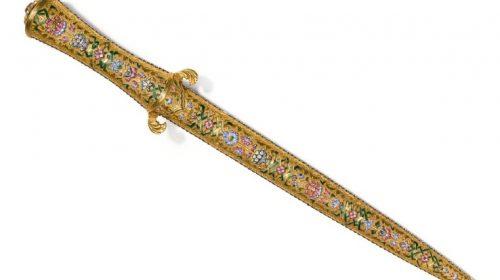 Османский эмалевый золотой кинжал с ножнами, Турция, 19 век.