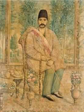 Портрет Мирзы Али Асгара Хана (Амин аль-Мульк аль-Султан, Атабег-и Азам), подписанный Исмаилом Джалаиром, Персия, Каджар, около 1880 года