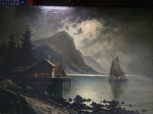 """""""Морская гавань в лунную ночь"""", Йозеф Карл Бертольд Пюттнер"""