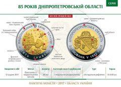 НБУ выпустил памятную биметаллическую монету «85 років Дніпропетровській області»