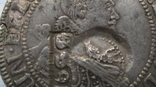 Талер Брауншвейг-Люнебург-Харбурга 1623 года с российскими контрмарками 1655 года