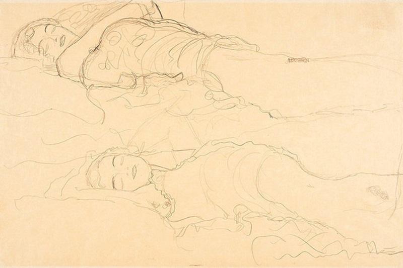 Нашелся пропавший рисунок Густава Климта «Двое лежащих»