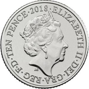 Аверс новых 10 пенсов традиционно украшает профиль королевы Елизаветы II.