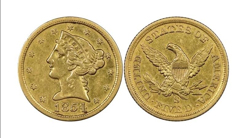 5 долларов 1854 года с изображением Свободы, (Liberty Head Half Eagle). Отчеканена в Сан-Франциско, тираж - 268 штук.