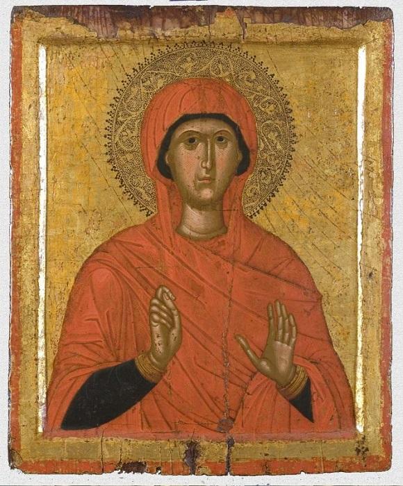 """Икона """"Великомученица Марина"""". Западная Европа, Греция, Крит, вторая половина XV в., 37,5х31х2,5 см, дерево, левкас, темпера, канфарение."""