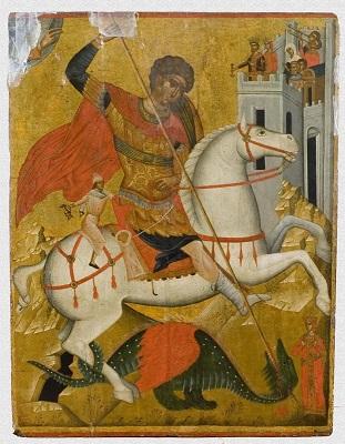"""Икона """"Чудо святого Георгия о змие"""". Западная Европа, Греция, Крит, первая четверть XVI в., 99,4х77,4х2,5 см, дерево, левкас, темпера."""