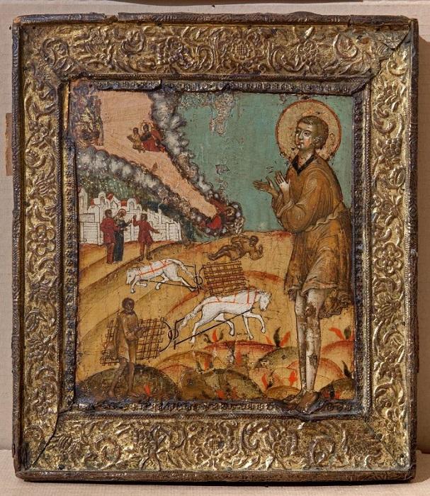 """Икона """"Святой Артемий Веркольский"""". XVII в., 30,3х26,4 см, дерево, левкас, металл, темпера."""