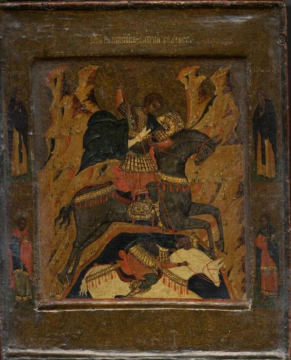 """Икона """"Великомученик Димитрий Солунский"""". Начало XVII в., 32х27 см, дерево, левкас, темпера, холст."""