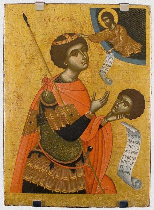 """Икона """"Великомученик Георгий-кефалофор"""". Западная Европа, Греция, Крит, первая половина XVII в., 76,7х57,2 см, дерево, левкас, темпера."""