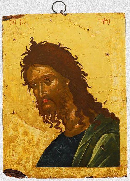 """Икона """"Иоанн Предтеча"""". Западная Европа, Греция, Крит, около 1600 г., 28х21 см, дерево, темпера."""