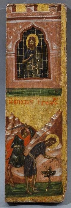 """Икона """"Два клейма из жития Иоанна Предтечи"""". Византия, Константинополь, около 1400 г., 31,9х9,8 см, дерево, левкас, темпера."""