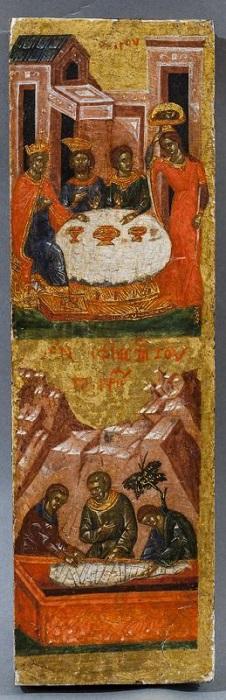 """Икона """"Два клейма из жития Иоанна Предтечи"""". Византия, Константинополь, около 1400 г., 32х10,1 см, дерево, левкас, темпера."""
