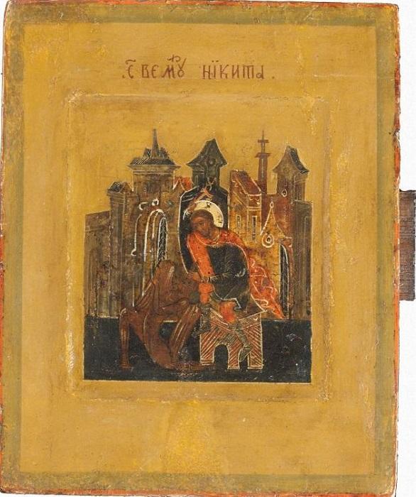 """Икона """"Великомученик Никита"""", Россия, Палех, XIX в., 15,5х12,5 см, дерево, левкас, темпера."""