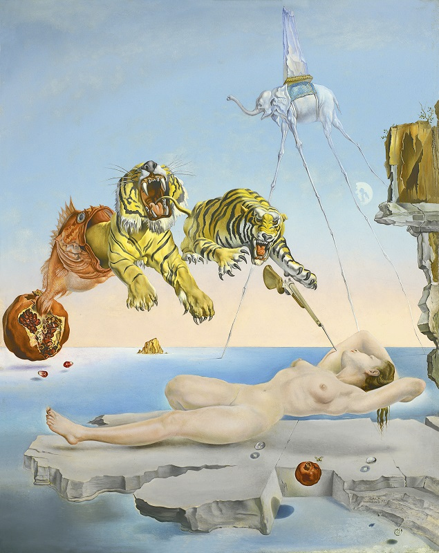 "Сальвадор Дали ""Сон, вызванный полётом пчелы вокруг граната, за секунду до пробуждения"" (Sueño causado por el vuelo de una abeja alrededor de una granada un segundo antes de despertar), 1944, холст,масло,51×40,5см"