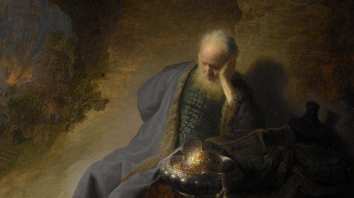 DE PROFEET JEREMIA (TREURENDE OM DE VERWOESTING VAN DE TEMPEL IN JERUZALEM) 1630, Rembrandt