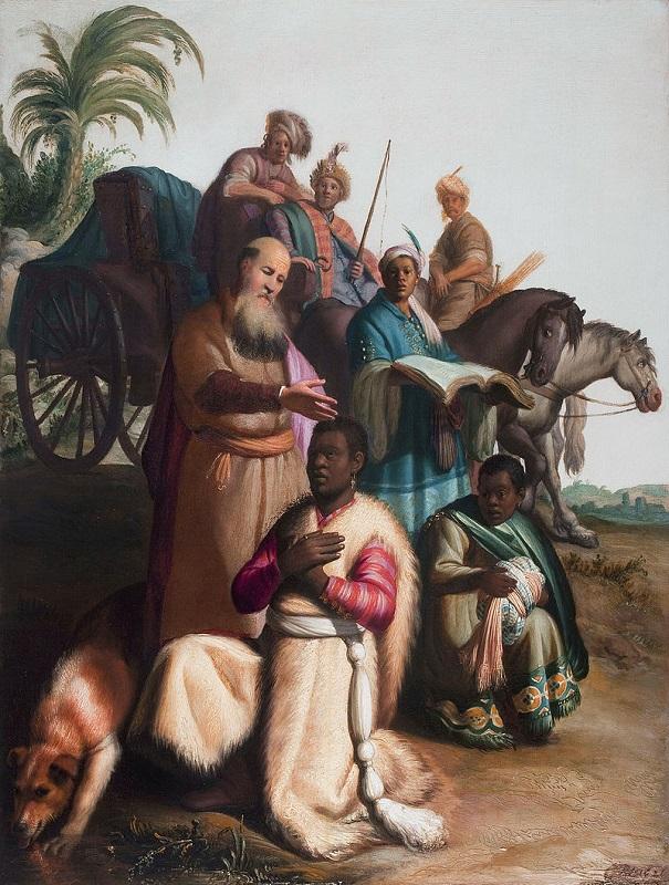 """Рембрандт """"Крещение евнуха"""", 1626 (64 см ×47,5 см)"""