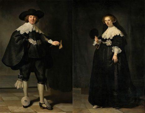 """""""Свадебный портрет Мартена Сулманса и Оопьены Коппит"""",1634, Рембрандт ван Рейн(1606-1669)"""