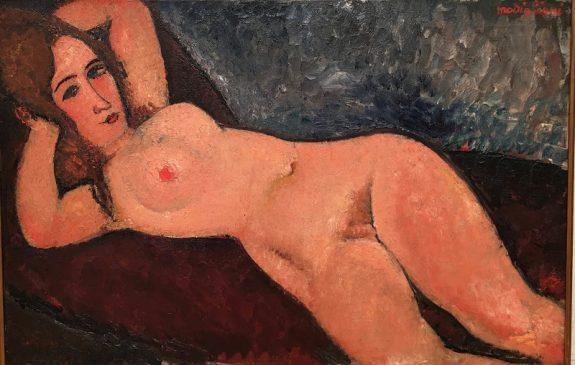 """Лежащая обнажённая"" (Nucouche aux bras leves) Амедео Модильяни(1884-1920) , 1916 год"