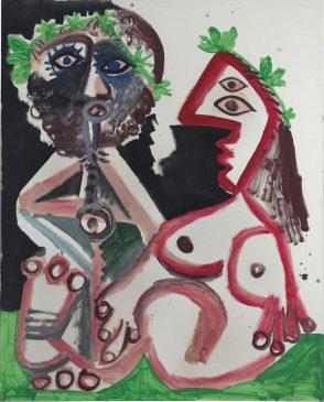 """""""Обнаженная женщина и флейтист"""" (Joueur de flute et femme nue), Пабло Пикассо (1881-1973), 1970 год"""