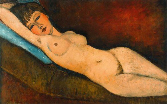 «Лежащая обнажённая с голубой подушкой» (Nu Couché au coussin Bleu), 1917, Амедео Модильяни