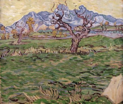 Landscape with Olive Tree and Mountains in the Background Oil on canvas 45.0 x 55.0 cm. Saint-Rémy: December, 1889 Private collection