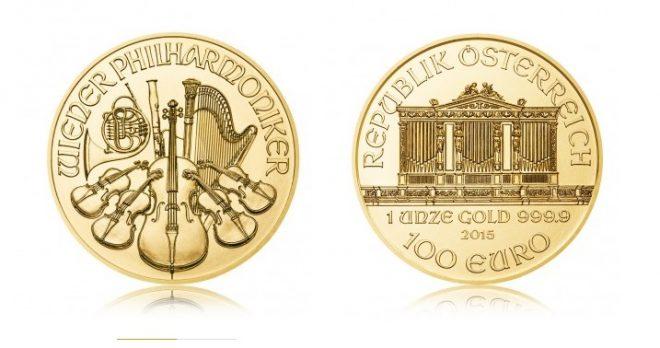 """Золотая монета 100 евро """"Венская филармония"""" - Wiener Philharmoniker, 1 унция"""