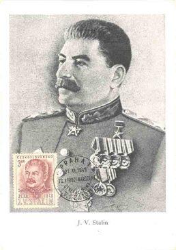 Картмаксимум (почтовая марка + открытка + спецгашение) с портретом И. В. Сталина, ЧССР, 1949