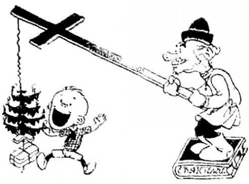 """""""Ёлка - ловушка для простаков"""". карикатура анонимного художника из книги Н. Амосова """"Против рождественской ёлки"""" 1930 года"""