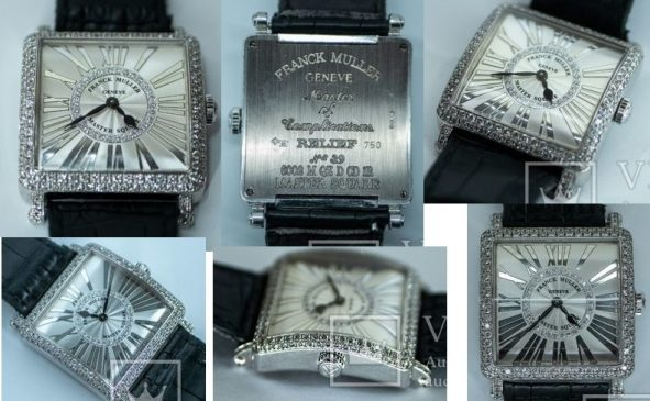 Часы Franck Muller с бриллиантами, Master Square White Gold Quartz