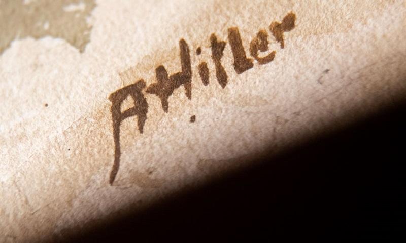 Подпись на картинах рейхсканцлера и фюрера Германии Адольфа Гитлера
