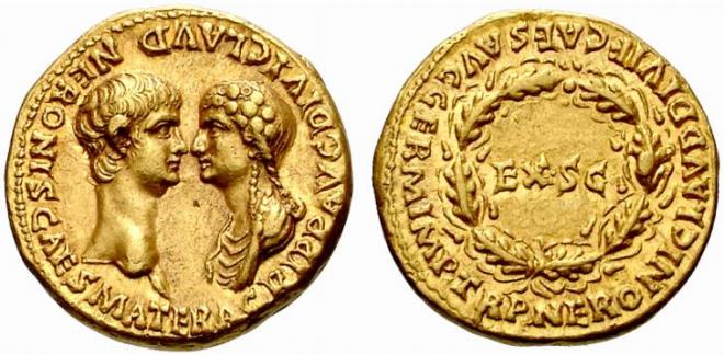 Ауреус Нерона 54 года с изображением на реверсе Нерона и Агрипппины - правнучки Октавиана Августа