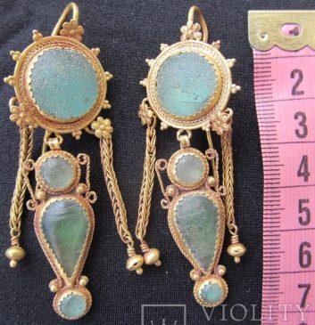 Золотые античные серьги