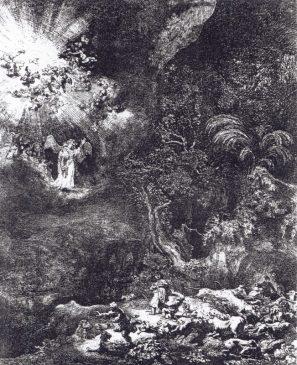 Рембрандт ван Рейн «Благовестие пастухам» 1634 год