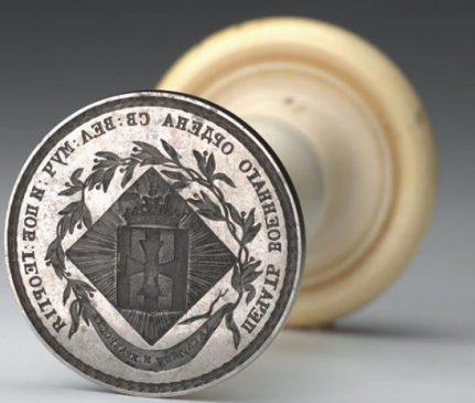 Печать ордена святого Георгия, XIX век. Серебро, сталь, кость