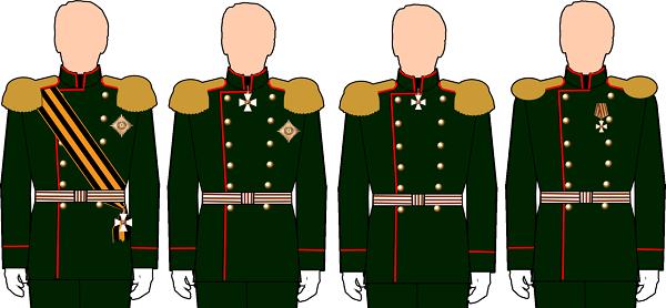 Правила ношения степеней ордена Св. Георгия (слева направо с 1-й по 4-ю)