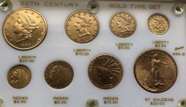 Набор золотых монет США: 20$; 10$; 5$; 2,5$