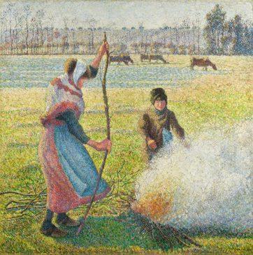 Камиль Писсарро «Иней. Молодая крестьянка разводит костер» (Gelée blanche,jeune paysanne faisant du feu)
