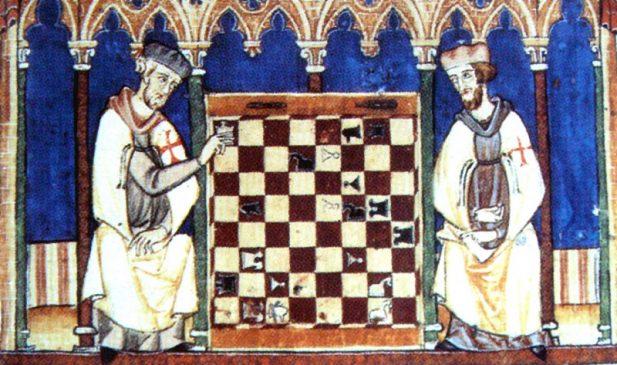 Knights Templar playing chess, Libro de los juegos, 1283