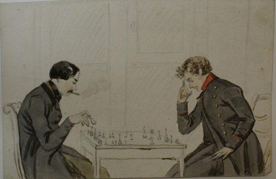 Неизвестный художник, Игра в шахматы, Россия, середина XIX в. Акварель, карандаш,12 х 18 см.
